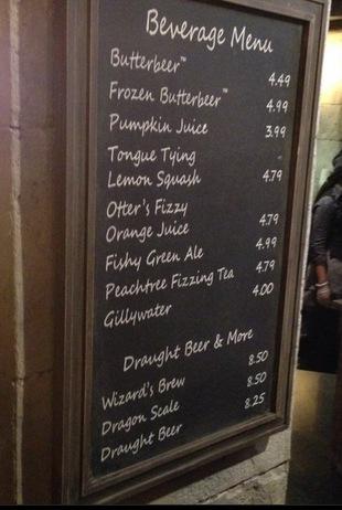 Leaky Cauldron Drinks Menu Tourist Meets Traveler